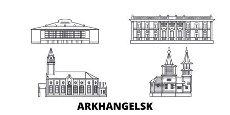 Russia, Arkhangelsk line travel skyline set. Russia, Arkhangelsk outline city vector panorama, illustration, travel sights, landmarks, streets. Ilustrace