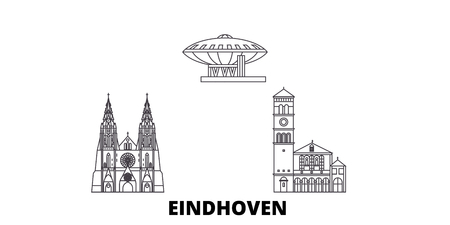 Netherlands, Eindhoven line travel skyline set. Netherlands, Eindhoven outline city vector panorama, illustration, travel sights, landmarks, streets.