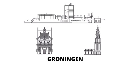 Netherlands, Groningen line travel skyline set. Netherlands, Groningen outline city vector panorama, illustration, travel sights, landmarks, streets.
