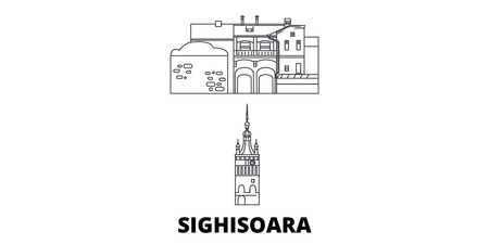 Romania, Sighisoara line travel skyline set. Romania, Sighisoara outline city vector panorama, illustration, travel sights, landmarks, streets.