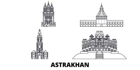 Russland, Astrachan-Linie Reise-Skyline-Set. Russland, Astrachan skizzieren Stadtvektorpanorama, Illustration, Reiseanblicke, Sehenswürdigkeiten, Straßen.
