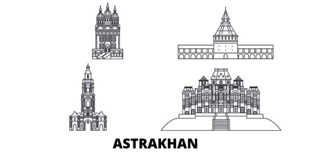 Russia, Astrakhan line travel skyline set. Russia, Astrakhan outline city vector panorama, illustration, travel sights, landmarks, streets. Illustration