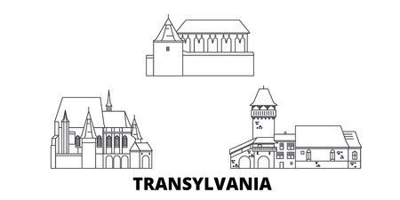 Romania, Transylvania line travel skyline set. Romania, Transylvania outline city vector panorama, illustration, travel sights, landmarks, streets. Иллюстрация