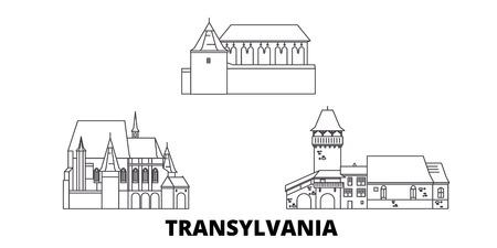 Romania, Transylvania line travel skyline set. Romania, Transylvania outline city vector panorama, illustration, travel sights, landmarks, streets. Illustration