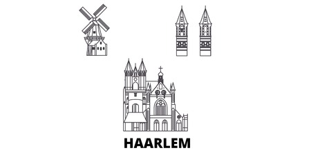 Nederland, Haarlem lijn reizen skyline set. nederland, Haarlem, schets, stad, vector, panorama, illustratie, reizen, gezichten, oriëntatiepunten, straten.