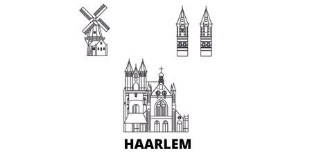 Niederlande, Haarlem Linie Reisen Skyline Set. Niederlande, Haarlem umreißen Stadtvektorpanorama, Illustration, Reisesehenswürdigkeiten, Sehenswürdigkeiten, Straßen.