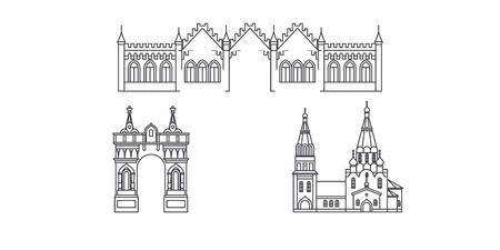 Russia, Blagoveshchensk line travel skyline set. Russia, Blagoveshchensk outline city vector panorama, illustration, travel sights, landmarks, streets. Illusztráció