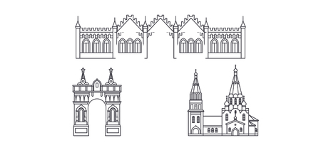 Russia, Blagoveshchensk line travel skyline set. Russia, Blagoveshchensk outline city vector panorama, illustration, travel sights, landmarks, streets. Illustration
