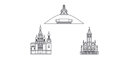 Russia, Bryansk line travel skyline set. Russia, Bryansk outline city vector panorama, illustration, travel sights, landmarks, streets. Ilustrace