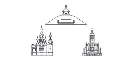 Russia, Bryansk line travel skyline set. Russia, Bryansk outline city vector panorama, illustration, travel sights, landmarks, streets. Stock Illustratie