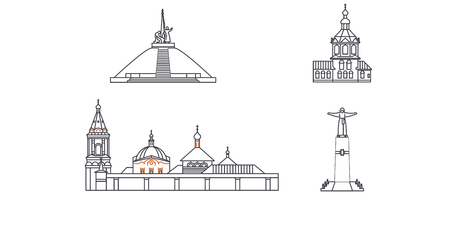 Russia, Cheboksary line travel skyline set. Russia, Cheboksary outline city vector panorama, illustration, travel sights, landmarks, streets.