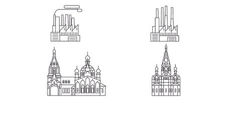 Russia, Chelyabinsk line travel skyline set. Russia, Chelyabinsk outline city vector panorama, illustration, travel sights, landmarks, streets.