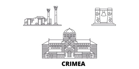 Russia, Crimea, Chersonesus line travel skyline set. Russia, Crimea, Chersonesus outline city vector panorama, illustration, travel sights, landmarks, streets.