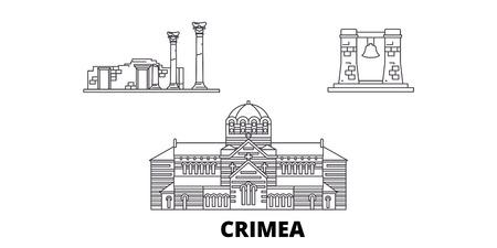 Russia, Crimea, Chersonesus linea skyline di viaggio insieme. Russia, Crimea, Chersonesus outline vettore città panorama, illustrazione, siti di viaggi, punti di riferimento, strade.