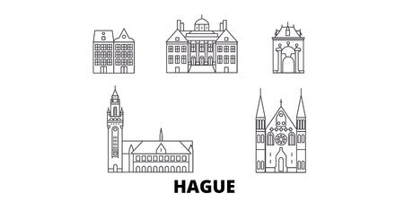 Netherlands, Hague line travel skyline set. Netherlands, Hague outline city vector panorama, illustration, travel sights, landmarks, streets.