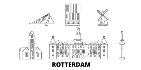 Netherlands, Rotterdam line travel skyline set. Netherlands, Rotterdam outline city vector panorama, illustration, travel sights, landmarks, streets. Ilustração