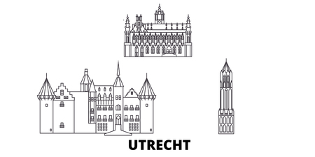 Netherlands, Utrecht line travel skyline set. Netherlands, Utrecht outline city vector panorama, illustration, travel sights, landmarks, streets. Illustration
