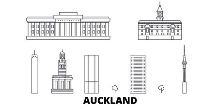 New Zealand, Auckland line travel skyline set. New Zealand, Auckland outline city vector panorama, illustration, travel sights, landmarks, streets. Ilustração