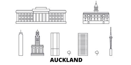 New Zealand, Auckland line travel skyline set. New Zealand, Auckland outline city vector panorama, illustration, travel sights, landmarks, streets. Illustration
