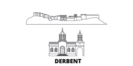 Russia, Derbent line travel skyline set. Russia, Derbent outline city vector panorama, illustration, travel sights, landmarks, streets.
