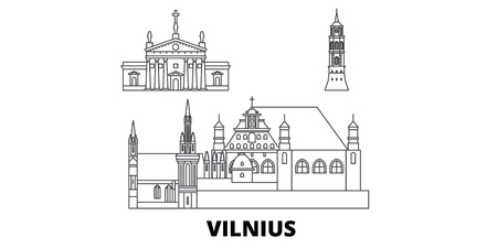 Lithuania, Vilnius line travel skyline set. Lithuania, Vilnius outline city vector panorama, illustration, travel sights, landmarks, streets.