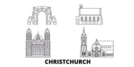 New Zealand, Christchurch line travel skyline set. New Zealand, Christchurch outline city vector panorama, illustration, travel sights, landmarks, streets. Illustration