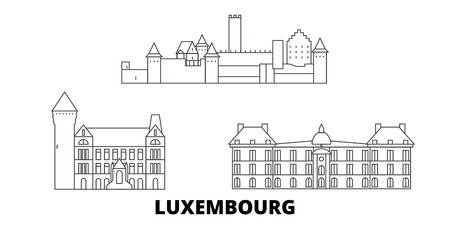 Luxembourg line travel skyline set. Luxembourg outline city vector panorama, illustration, travel sights, landmarks, streets.  イラスト・ベクター素材