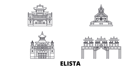 Russia, Elista line travel skyline set. Russia, Elista outline city vector panorama, illustration, travel sights, landmarks, streets. Illustration