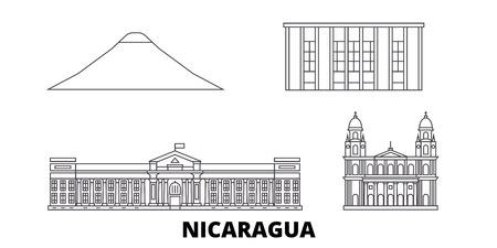 Nicaragua, Managua line travel skyline set. Nicaragua, Managua outline city vector panorama, illustration, travel sights, landmarks, streets.