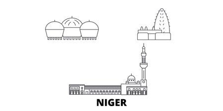 Niger line travel skyline set. Niger outline city vector panorama, illustration, travel sights, landmarks, streets.