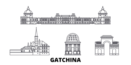Russia, Gatchina  line travel skyline set. Russia, Gatchina  outline city vector panorama, illustration, travel sights, landmarks, streets. Stock Illustratie