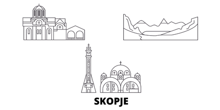 Macedonia, Skopje line travel skyline set. Macedonia, Skopje outline city vector panorama, illustration, travel sights, landmarks, streets. Иллюстрация