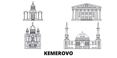 Russia, Kemerovo line travel skyline set. Russia, Kemerovo outline city vector panorama, illustration, travel sights, landmarks, streets.