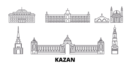 Russia, Kazan line travel skyline set. Russia, Kazan outline city vector panorama, illustration, travel sights, landmarks, streets. 일러스트