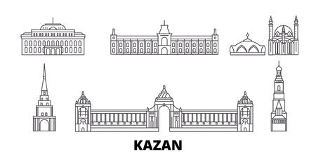 Russland, Kasaner Linie Reise-Skyline-Set. Russland, Kasan umreißen Stadtvektorpanorama, Illustration, Reiseanblicke, Sehenswürdigkeiten, Straßen. Vektorgrafik