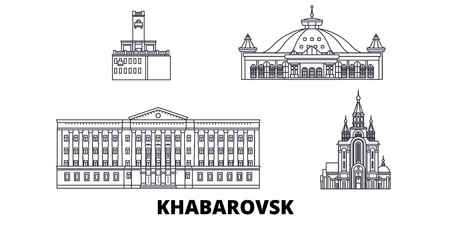 Russia, Khabarovsk line travel skyline set. Russia, Khabarovsk outline city vector panorama, illustration, travel sights, landmarks, streets. Illusztráció