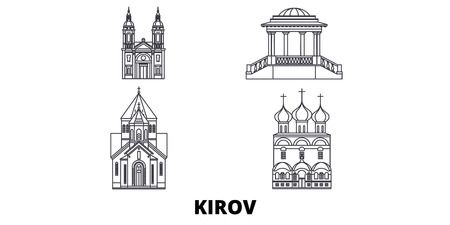 Russia, Kirov line travel skyline set. Russia, Kirov outline city vector panorama, illustration, travel sights, landmarks, streets. Illustration