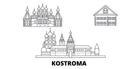 Russia, Kostroma line travel skyline set. Russia, Kostroma outline city vector panorama, illustration, travel sights, landmarks, streets.