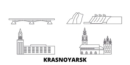 Russia, Krasnoyarsk line travel skyline set. Russia, Krasnoyarsk outline city vector panorama, illustration, travel sights, landmarks, streets. Imagens - 123963241