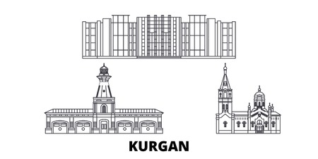 Russia, Kurgan line travel skyline set. Russia, Kurgan outline city vector panorama, illustration, travel sights, landmarks, streets. Çizim