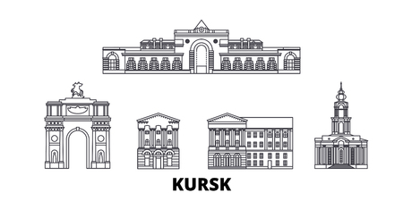 Russia, Kursk line travel skyline set. Russia, Kursk outline city vector panorama, illustration, travel sights, landmarks, streets. Stock Illustratie