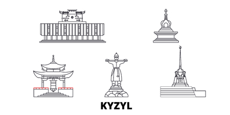 Russia, Kyzyl line travel skyline set. Russia, Kyzyl outline city vector panorama, illustration, travel sights, landmarks, streets. 矢量图像