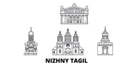 Russia, Nizhny Tagil line travel skyline set. Russia, Nizhny Tagil outline city vector panorama, illustration, travel sights, landmarks, streets.