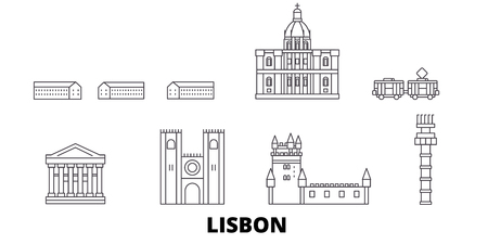 Portugal, Lisbon line travel skyline set. Portugal, Lisbon outline city vector panorama, illustration, travel sights, landmarks, streets.