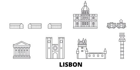 Portugal, Lisbon line travel skyline set. Portugal, Lisbon outline city vector panorama, illustration, travel sights, landmarks, streets.