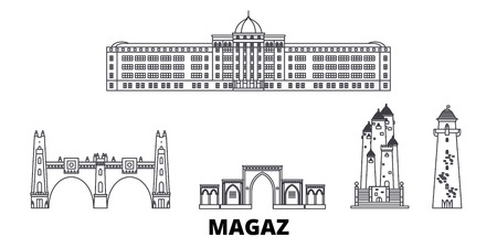Russia, Magas line travel skyline set. Russia, Magas outline city vector panorama, illustration, travel sights, landmarks, streets. Illusztráció