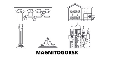 Russia, Magnitogorsk line travel skyline set. Russia, Magnitogorsk outline city vector panorama, illustration, travel sights, landmarks, streets.