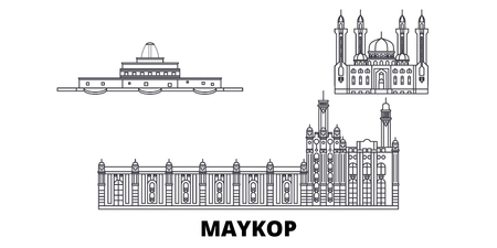 Russia, Maykop line travel skyline set. Russia, Maykop outline city vector panorama, illustration, travel sights, landmarks, streets. Illusztráció