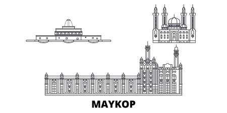 Russia, Maykop line travel skyline set. Russia, Maykop outline city vector panorama, illustration, travel sights, landmarks, streets. Illustration