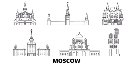 Russia, Moscow line travel skyline set. Russia, Moscow outline city vector panorama, illustration, travel sights, landmarks, streets.